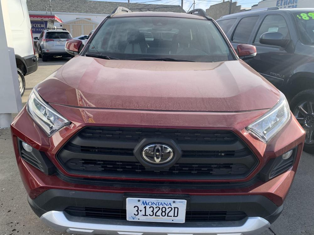 2019 Metallic Red /Buckskin Tu-Tone Leather Toyota RAV4 Adventure AWD (2T3J1RFVXKC) with an 2.5L L4 DOHC 16V engine, 8A transmission, located at 3200 1st Avenue North, Billings, MT, 59101, (406) 245-9055, 45.779270, -108.510742 - Photo #1